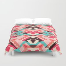 Raccoons and hearts Duvet Cover