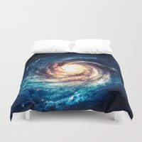 xbox Duvet Covers featuring Spiral Galaxy by Zavu