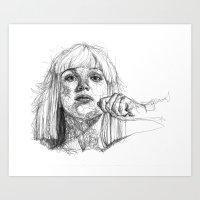 sia Art Prints featuring Sia Scribbles (Pen Art) by Aeriz85