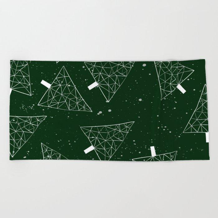 Christmas Trees Green Beach Towel