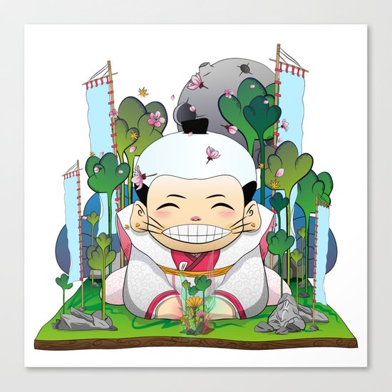Fukusuke and the magic forest Canvas Print
