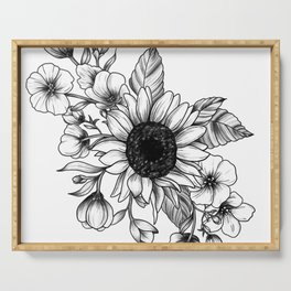 Bouquet of Flowers with Sunflower / Fall floral lineart Serving Tray