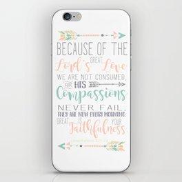Handwritten Pastels Lamentations 3:22-23 Bible Verse iPhone Skin