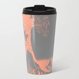 The Great Wave Peach & Gray Travel Mug
