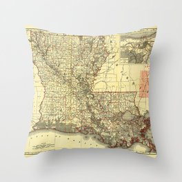 Map of Louisiana (1895) Throw Pillow