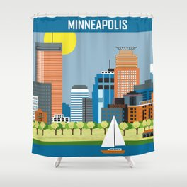 Minneapolis, Minnesota - Skyline Illustration by Loose Petals Shower Curtain