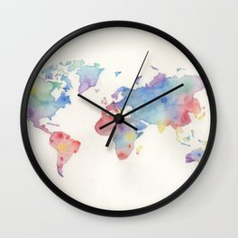 Watercolour world map Wall Clock