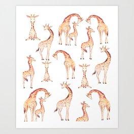 Tan Giraffes Art Print