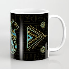 Egyptian Cats Gold and blue stained glass Coffee Mug