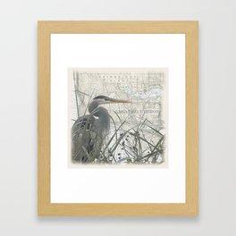 Heron blanket Framed Art Print