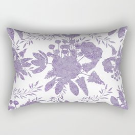 Elegant Lavender Purple White Glitter Floral Rectangular Pillow