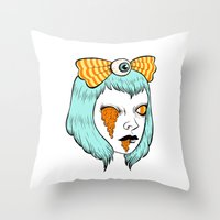 alisa burke Throw Pillows featuring candy corn melt by Ally Burke