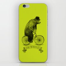 Bears on Bicycles (Lime) iPhone Skin