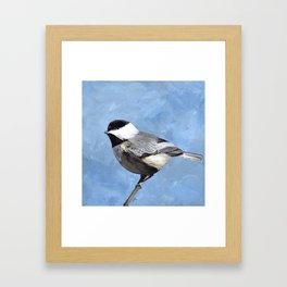 Chickadee Art, Blue Painting Framed Art Print