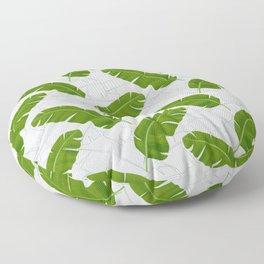 Banana Leaves_ Bg White Floor Pillow