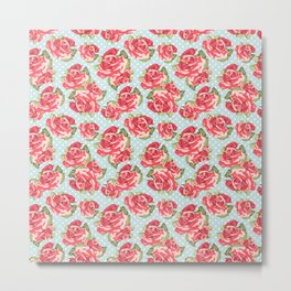 English Roses Blue Polka Dots Metal Print