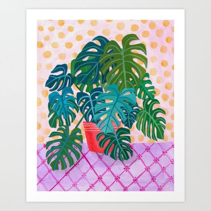 Split Leaf Philodendron Houseplant Painting Art Print