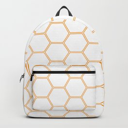 Geometric Honeycomb Pattern - Orange #271 Backpack