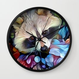 Peekaboo Raccoon Wall Clock