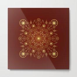 Clockwork Compass in Red Metal Print