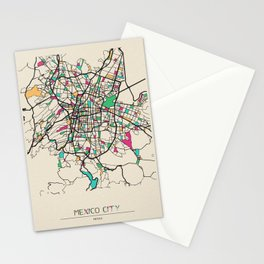 Colorful City Maps: Mexico City Stationery Cards