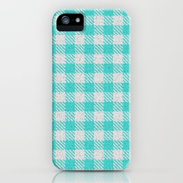 Medium Turquoise Buffalo Plaid iPhone Case