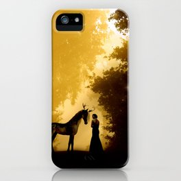 Magical Forest with a Lady and a Unicorn iPhone Case