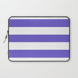 Slate blue - solid color - white stripes pattern Laptop Sleeve