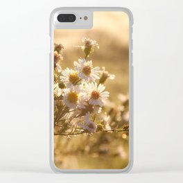 White Aster Flower Clear iPhone Case