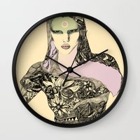 lara croft Wall Clocks featuring Lara by hyperpattern