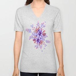 lilac, Purple, Burgundy, mix Turquoise Unisex V-Neck