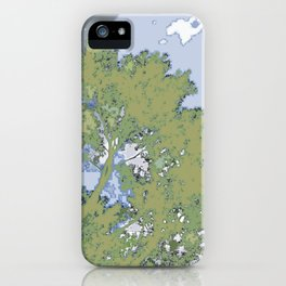 Robotic Treeline and Clouds, digital pixilated iPhone Case
