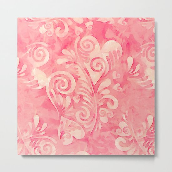 Cute watercolor pink hearts pattern Metal Print