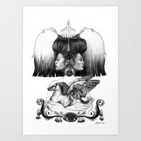 gemini Art Prints featuring Gemini by Deborah Panesar Illustration