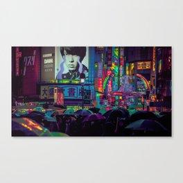 Tokyo Nights / Shibuya Neon Noir / Rain / Liam Wong Canvas Print