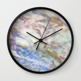 marble gold blue Wall Clock