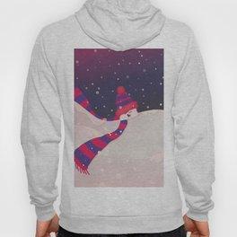 Christmas Peekaboo Snowman II - Blue Violet Snowy Background Hoody