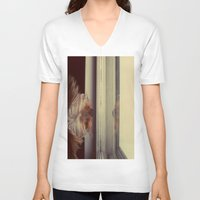 yorkie V-neck T-shirts featuring Yorkie Daydreaming by Kirsten Renfroe Photography