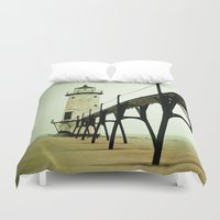 queen Duvet Covers featuring Manistee Light by Olivia Joy StClaire