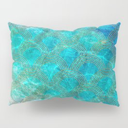 Sea Ocean Waves effect- Gold and Aqua Scales Pattern Pillow Sham