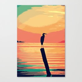 Living Coral & Teal Tropical Sunset Waters Canvas Print