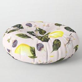 Citrus paradise. Tropical pattern with lemons Floor Pillow