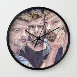 Team Free Will 2.: Misha Collins; Jared Padalecki and Jensen Ackles, watercolor painting Wall Clock