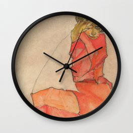 Egon Schiele - Kneeling Female in Orange-Red Dress Wall Clock