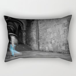 Street photography of a man in the rain in a building of the middle evo Rectangular Pillow