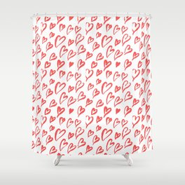 Red hearts seamless pattern Shower Curtain