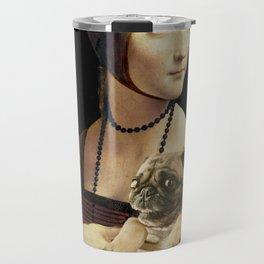 Lady with a Pug Travel Mug
