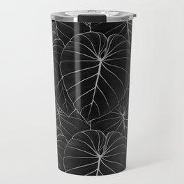blackwork philodendron leaves Travel Mug