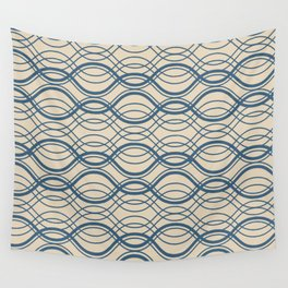 Blue Thin Overlapping Horizontal Lines Pattern on Beige - 2020 Color of the year Chinese Porcelain Wall Tapestry