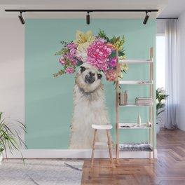 Flower Crown Llama in Green Wall Mural